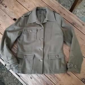 Isda & Co. Olive Green Wool Military Style Jacket